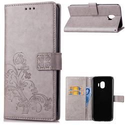 Embossing Imprint Four-Leaf Clover Leather Wallet Case for Samsung Galaxy J2 Pro (2018) - Grey