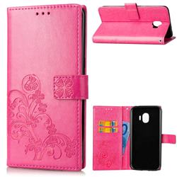 Embossing Imprint Four-Leaf Clover Leather Wallet Case for Samsung Galaxy J2 Pro (2018) - Rose