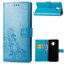 Embossing Imprint Four-Leaf Clover Leather Wallet Case for Samsung Galaxy J2 Pro (2018) - Blue