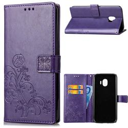 Embossing Imprint Four-Leaf Clover Leather Wallet Case for Samsung Galaxy J2 Pro (2018) - Purple