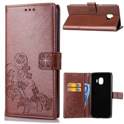 Embossing Imprint Four-Leaf Clover Leather Wallet Case for Samsung Galaxy J2 Pro (2018) - Brown