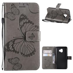 Embossing 3D Butterfly Leather Wallet Case for Samsung Galaxy J2 Pro (2018) - Gray