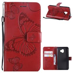 Embossing 3D Butterfly Leather Wallet Case for Samsung Galaxy J2 Pro (2018) - Red