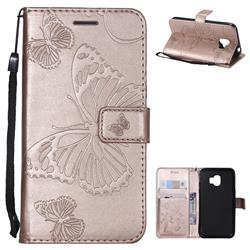 Embossing 3D Butterfly Leather Wallet Case for Samsung Galaxy J2 Pro (2018) - Rose Gold