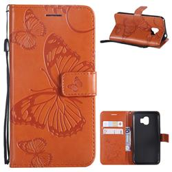 Embossing 3D Butterfly Leather Wallet Case for Samsung Galaxy J2 Pro (2018) - Orange