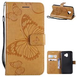 Embossing 3D Butterfly Leather Wallet Case for Samsung Galaxy J2 Pro (2018) - Yellow