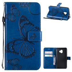Embossing 3D Butterfly Leather Wallet Case for Samsung Galaxy J2 Pro (2018) - Blue