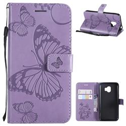 Embossing 3D Butterfly Leather Wallet Case for Samsung Galaxy J2 Pro (2018) - Purple