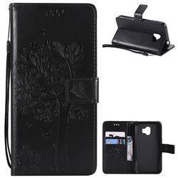 Embossing Butterfly Tree Leather Wallet Case for Samsung Galaxy J2 Pro (2018) - Black