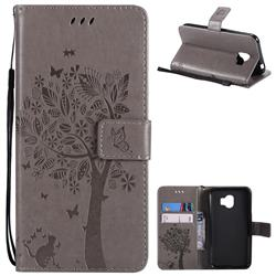 Embossing Butterfly Tree Leather Wallet Case for Samsung Galaxy J2 Pro (2018) - Grey