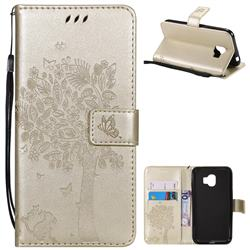 Embossing Butterfly Tree Leather Wallet Case for Samsung Galaxy J2 Pro (2018) - Champagne