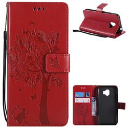 Embossing Butterfly Tree Leather Wallet Case for Samsung Galaxy J2 Pro (2018) - Red