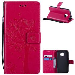 Embossing Butterfly Tree Leather Wallet Case for Samsung Galaxy J2 Pro (2018) - Rose