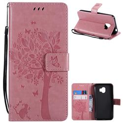 Embossing Butterfly Tree Leather Wallet Case for Samsung Galaxy J2 Pro (2018) - Pink