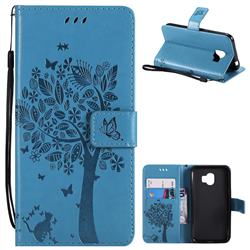 Embossing Butterfly Tree Leather Wallet Case for Samsung Galaxy J2 Pro (2018) - Blue