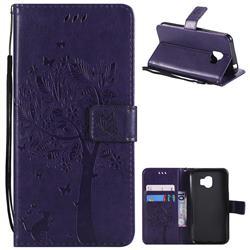 Embossing Butterfly Tree Leather Wallet Case for Samsung Galaxy J2 Pro (2018) - Purple