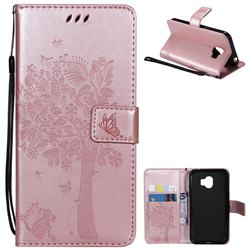 Embossing Butterfly Tree Leather Wallet Case for Samsung Galaxy J2 Pro (2018) - Rose Pink