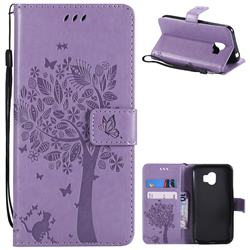 Embossing Butterfly Tree Leather Wallet Case for Samsung Galaxy J2 Pro (2018) - Violet