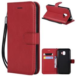 Retro Greek Classic Smooth PU Leather Wallet Phone Case for Samsung Galaxy J2 Pro (2018) - Red