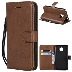 Retro Greek Classic Smooth PU Leather Wallet Phone Case for Samsung Galaxy J2 Pro (2018) - Brown
