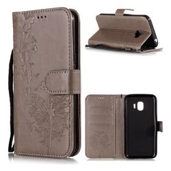 Intricate Embossing Dandelion Butterfly Leather Wallet Case for Samsung Galaxy J2 Pro (2018) - Gray