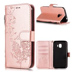 Intricate Embossing Dandelion Butterfly Leather Wallet Case for Samsung Galaxy J2 Pro (2018) - Rose Gold