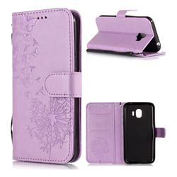 Intricate Embossing Dandelion Butterfly Leather Wallet Case for Samsung Galaxy J2 Pro (2018) - Purple