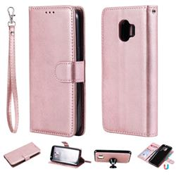 Retro Greek Detachable Magnetic PU Leather Wallet Phone Case for Samsung Galaxy J2 Pro (2018) - Rose Gold