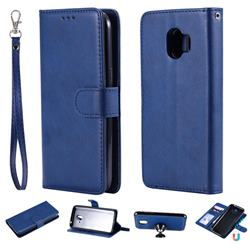 Retro Greek Detachable Magnetic PU Leather Wallet Phone Case for Samsung Galaxy J2 Pro (2018) - Blue
