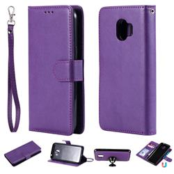 Retro Greek Detachable Magnetic PU Leather Wallet Phone Case for Samsung Galaxy J2 Pro (2018) - Purple