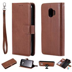 Retro Greek Detachable Magnetic PU Leather Wallet Phone Case for Samsung Galaxy J2 Pro (2018) - Brown