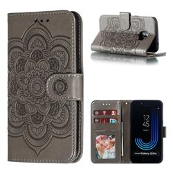 Intricate Embossing Datura Solar Leather Wallet Case for Samsung Galaxy J2 Pro (2018) - Gray