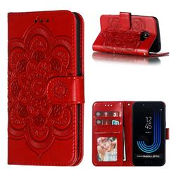Intricate Embossing Datura Solar Leather Wallet Case for Samsung Galaxy J2 Pro (2018) - Red
