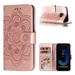 Intricate Embossing Datura Solar Leather Wallet Case for Samsung Galaxy J2 Pro (2018) - Rose Gold