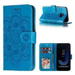 Intricate Embossing Datura Solar Leather Wallet Case for Samsung Galaxy J2 Pro (2018) - Blue