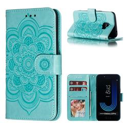 Intricate Embossing Datura Solar Leather Wallet Case for Samsung Galaxy J2 Pro (2018) - Green