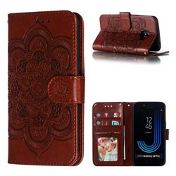 Intricate Embossing Datura Solar Leather Wallet Case for Samsung Galaxy J2 Pro (2018) - Brown