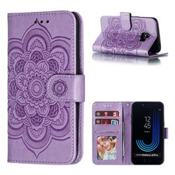 Intricate Embossing Datura Solar Leather Wallet Case for Samsung Galaxy J2 Pro (2018) - Purple