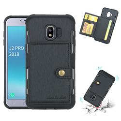 Brush Multi-function Leather Phone Case for Samsung Galaxy J2 Pro (2018) - Black