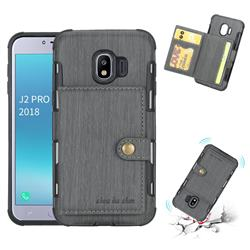 Brush Multi-function Leather Phone Case for Samsung Galaxy J2 Pro (2018) - Gray
