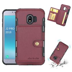 Brush Multi-function Leather Phone Case for Samsung Galaxy J2 Pro (2018) - Wine Red
