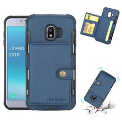 Brush Multi-function Leather Phone Case for Samsung Galaxy J2 Pro (2018) - Blue