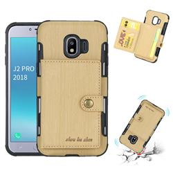 Brush Multi-function Leather Phone Case for Samsung Galaxy J2 Pro (2018) - Golden