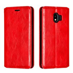 Retro Slim Magnetic Crazy Horse PU Leather Wallet Case for Samsung Galaxy J2 Pro (2018) - Red