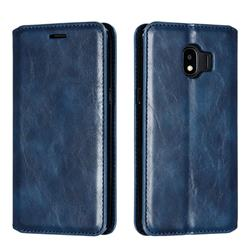 Retro Slim Magnetic Crazy Horse PU Leather Wallet Case for Samsung Galaxy J2 Pro (2018) - Blue