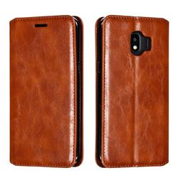 Retro Slim Magnetic Crazy Horse PU Leather Wallet Case for Samsung Galaxy J2 Pro (2018) - Brown