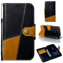 Retro Magnetic Stitching Wallet Flip Cover for Samsung Galaxy J2 Pro (2018) - Black