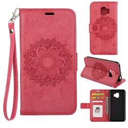 Embossing Retro Matte Mandala Flower Leather Wallet Case for Samsung Galaxy J2 Pro (2018) - Red