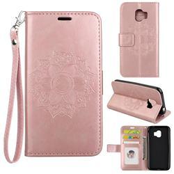 Embossing Retro Matte Mandala Flower Leather Wallet Case for Samsung Galaxy J2 Pro (2018) - Rose Gold