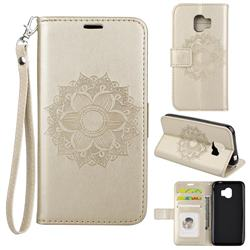 Embossing Retro Matte Mandala Flower Leather Wallet Case for Samsung Galaxy J2 Pro (2018) - Golden